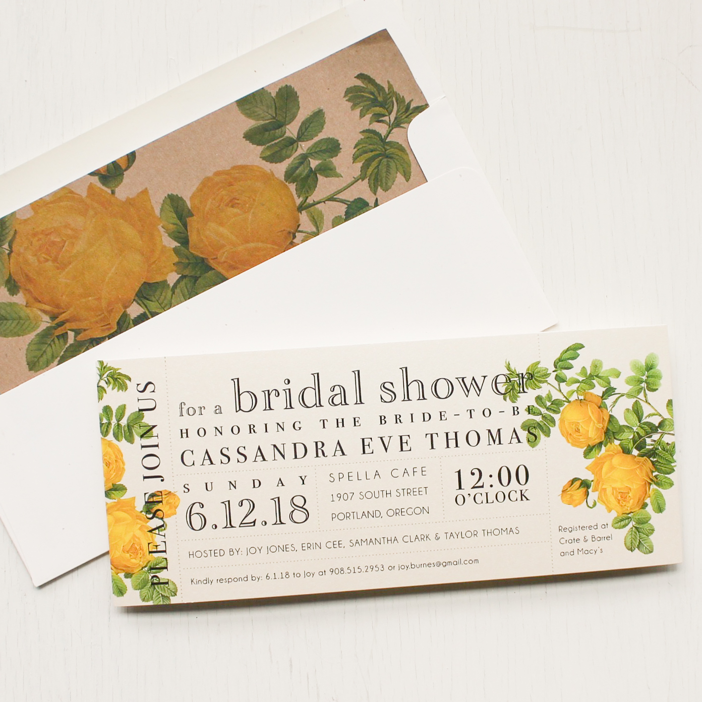 Ivory and Yellow Bridal Shower Invitations