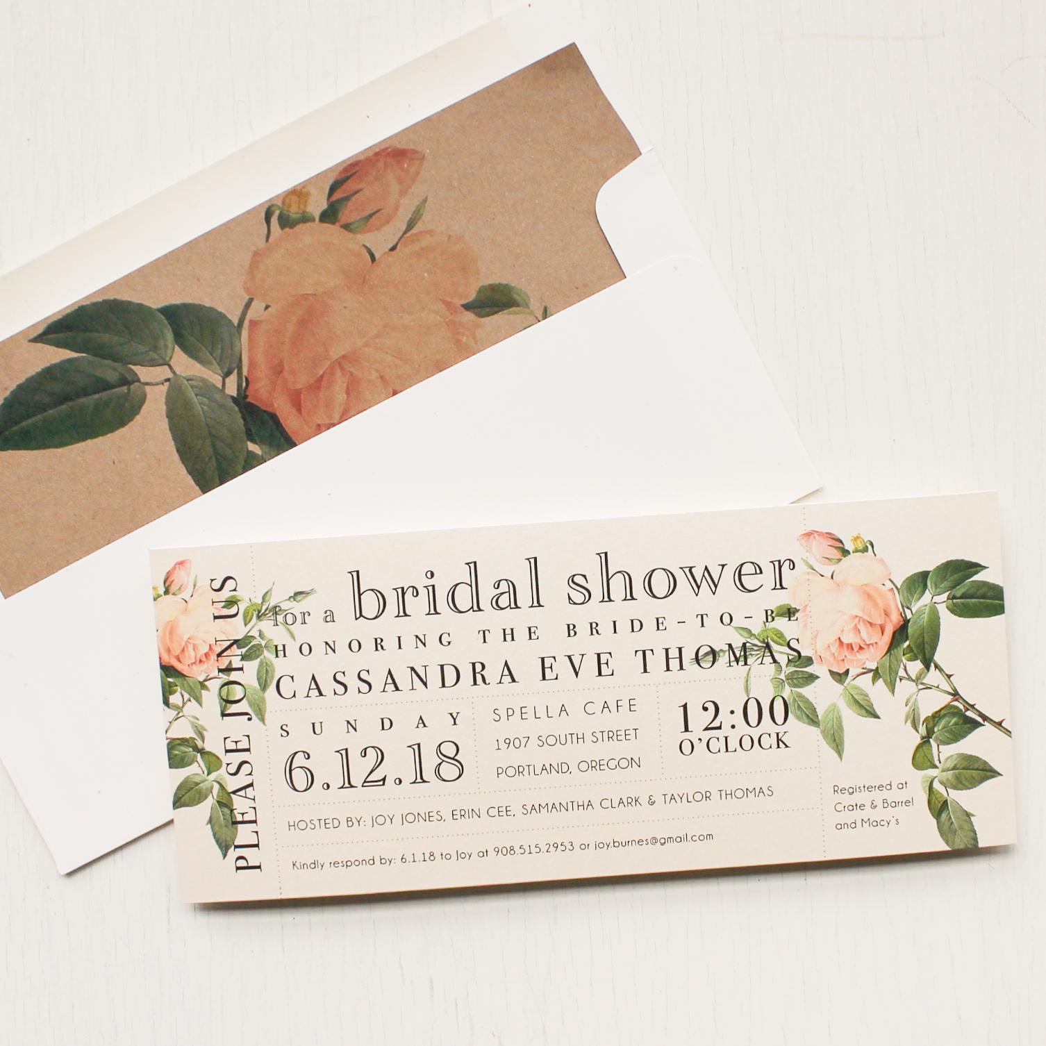 Ivory and Blush Bridal Shower Invitations