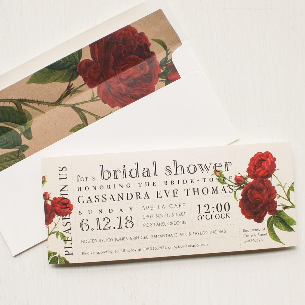 Ivory and Red Bridal Shower Invitations
