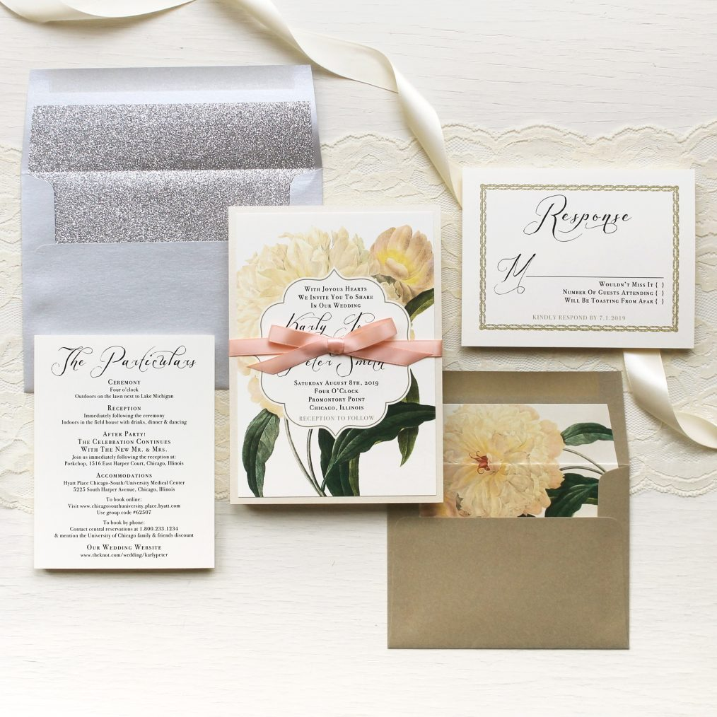 Ivory & Gold Peony Wedding Invitations