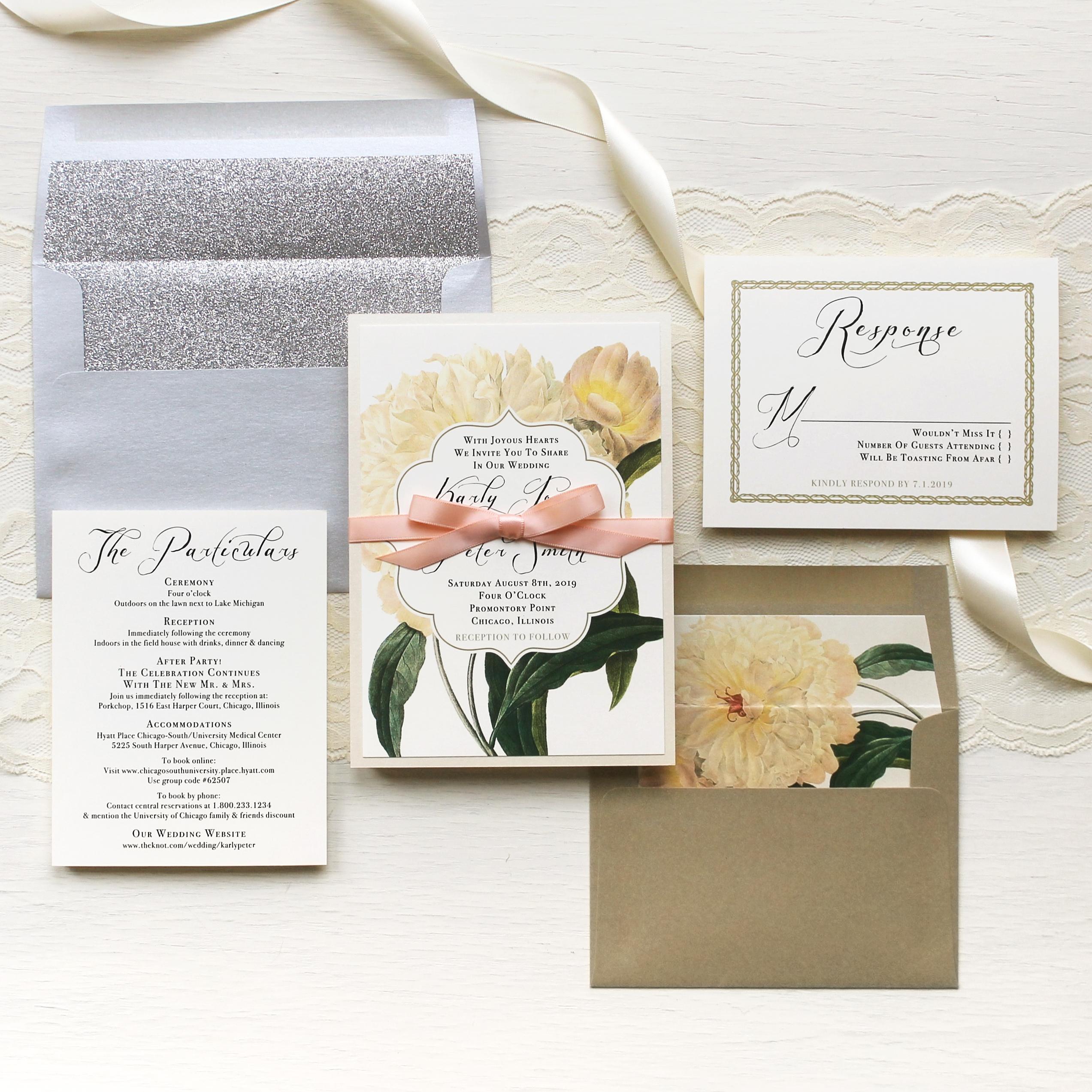 Ivory & Gold Peony Customizable Modern Wedding Invitations | Beacon Lane
