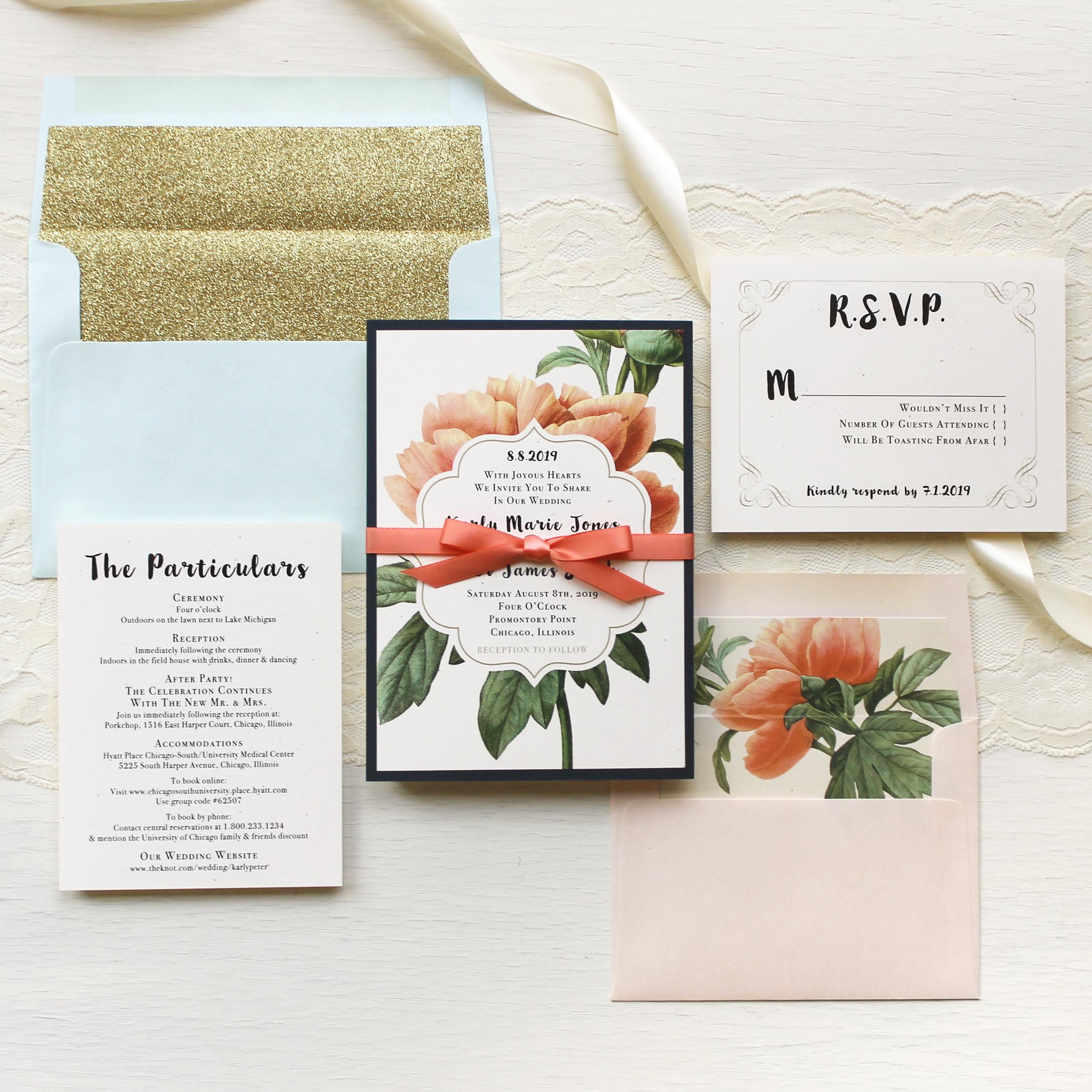 Pastel Peony Wedding Invitations