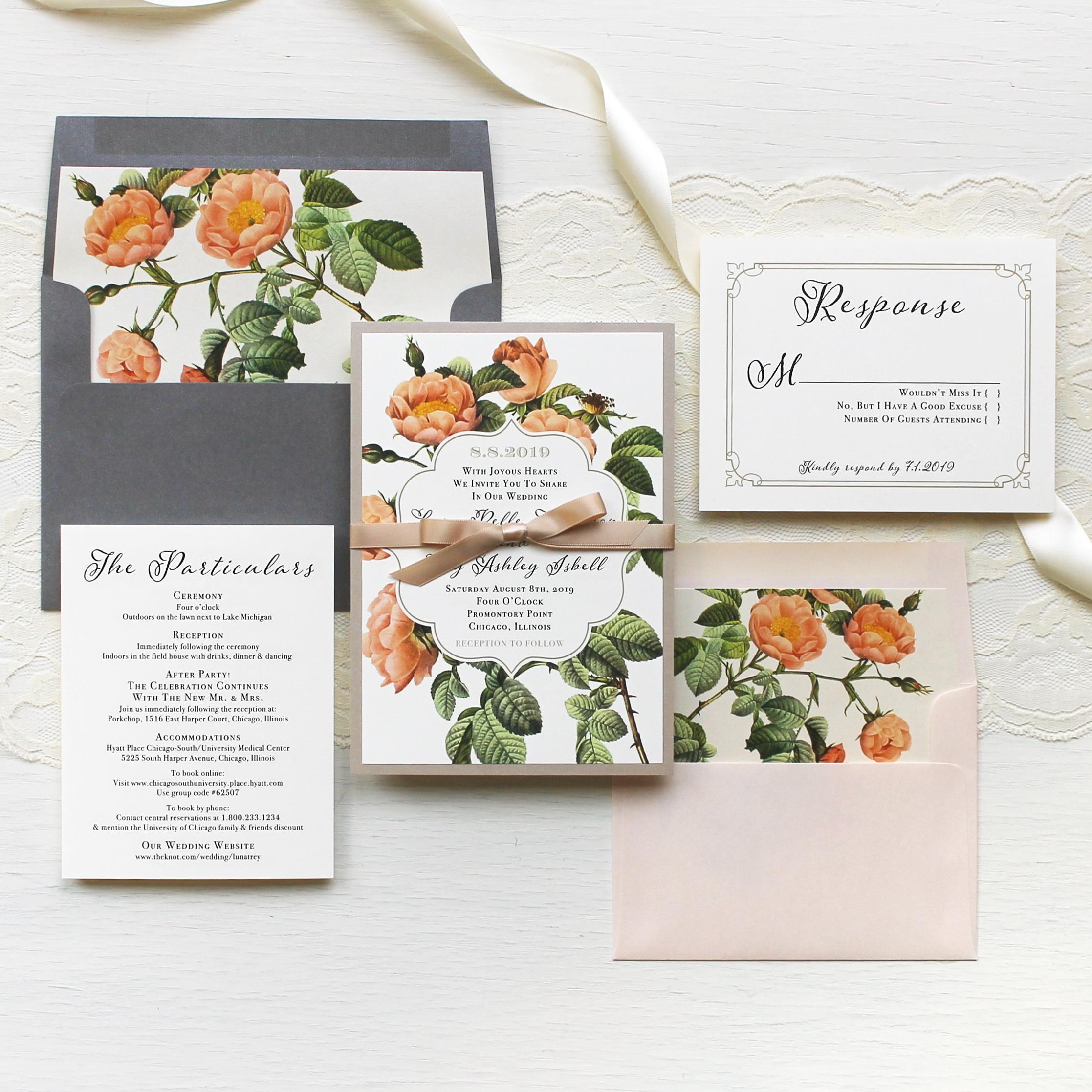 Shabby Rose Customizable Modern Wedding Invitations   Beacon Lane