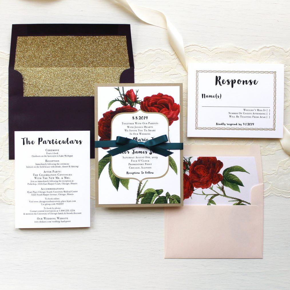 Jewel Tone Rose Wedding Invitation