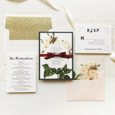 Navy Garden Rose Wedding Invitations