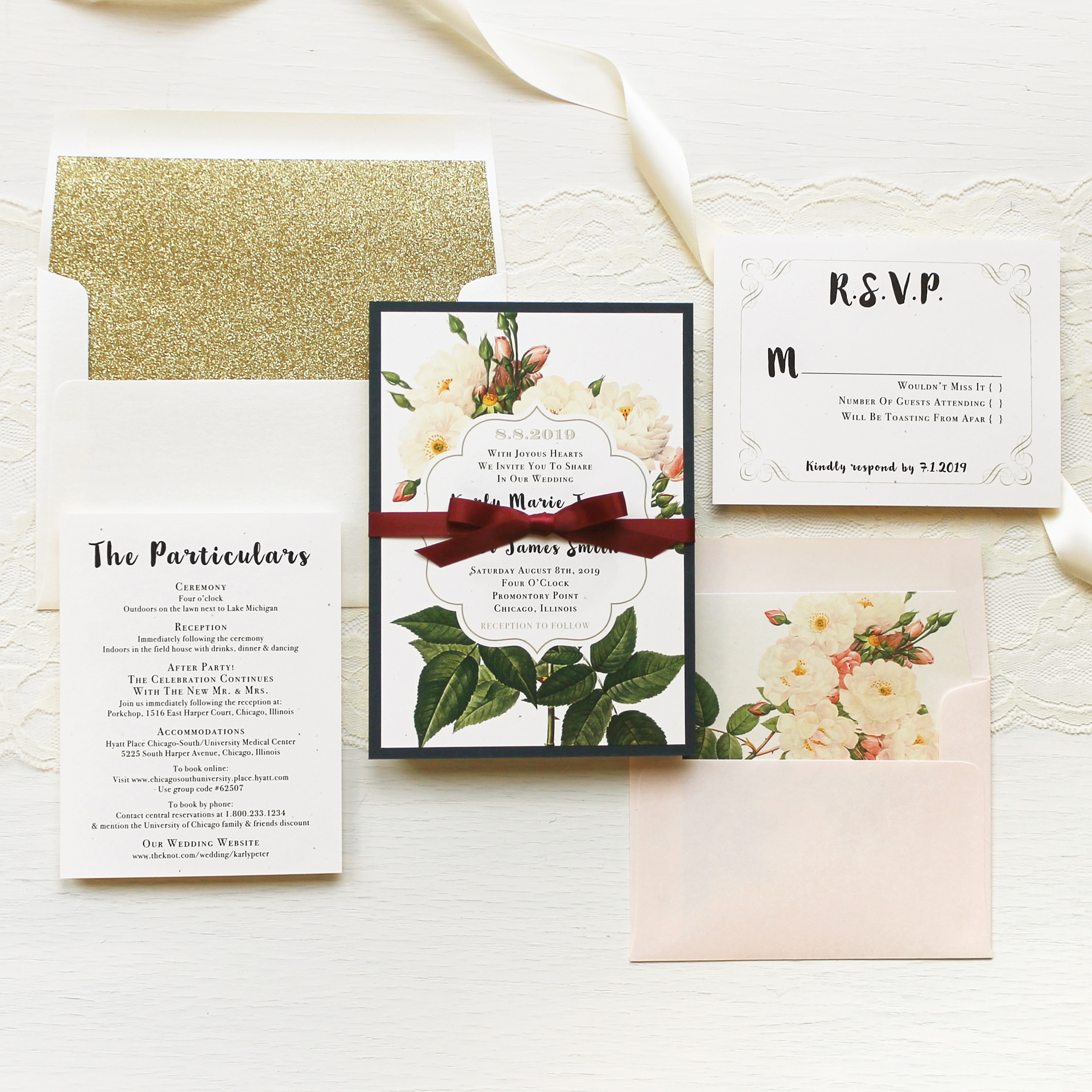 Navy Garden Rose Customizable Modern Wedding Invitations | Beacon Lane