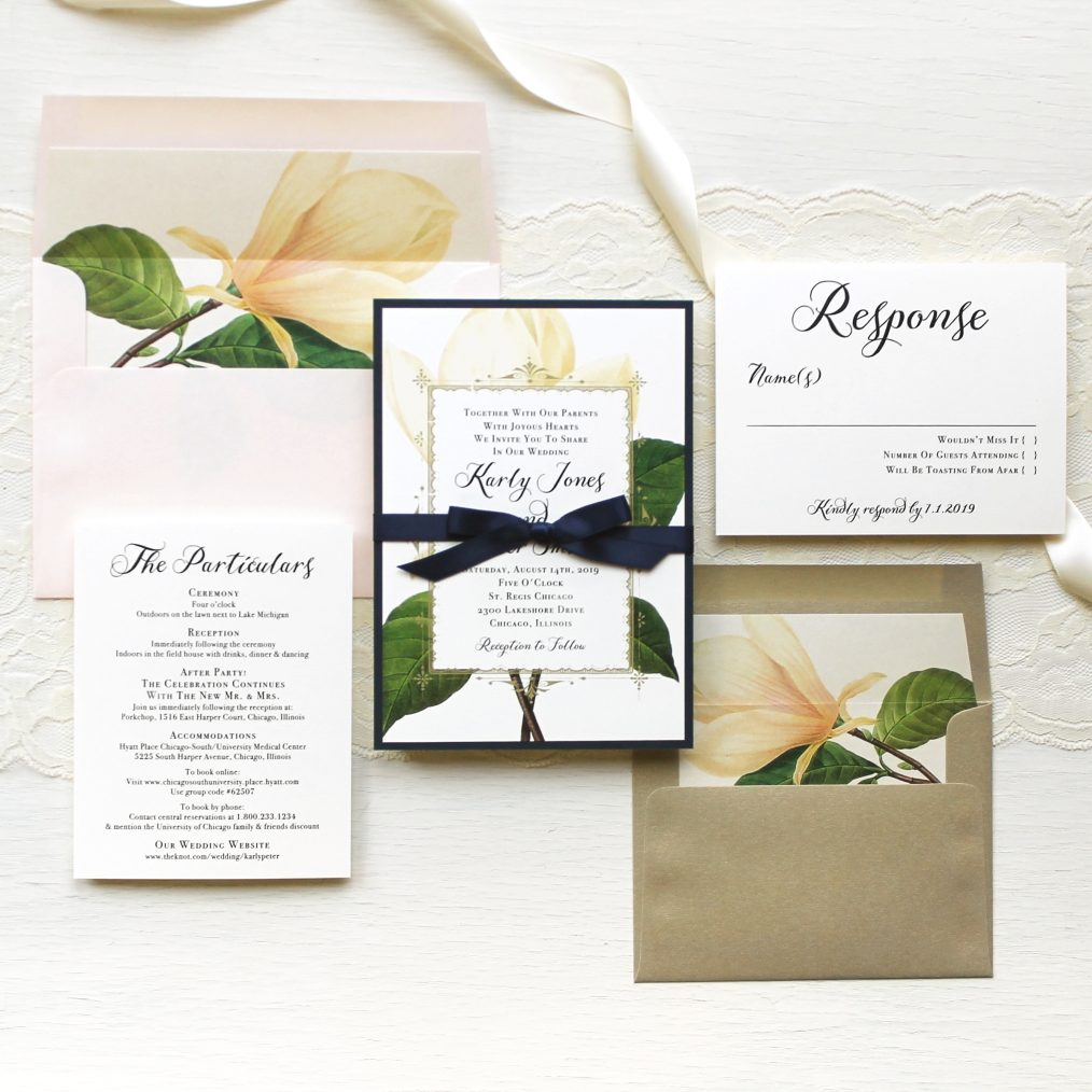 Elegant Gold Sweet Magnolia Wedding Invitations