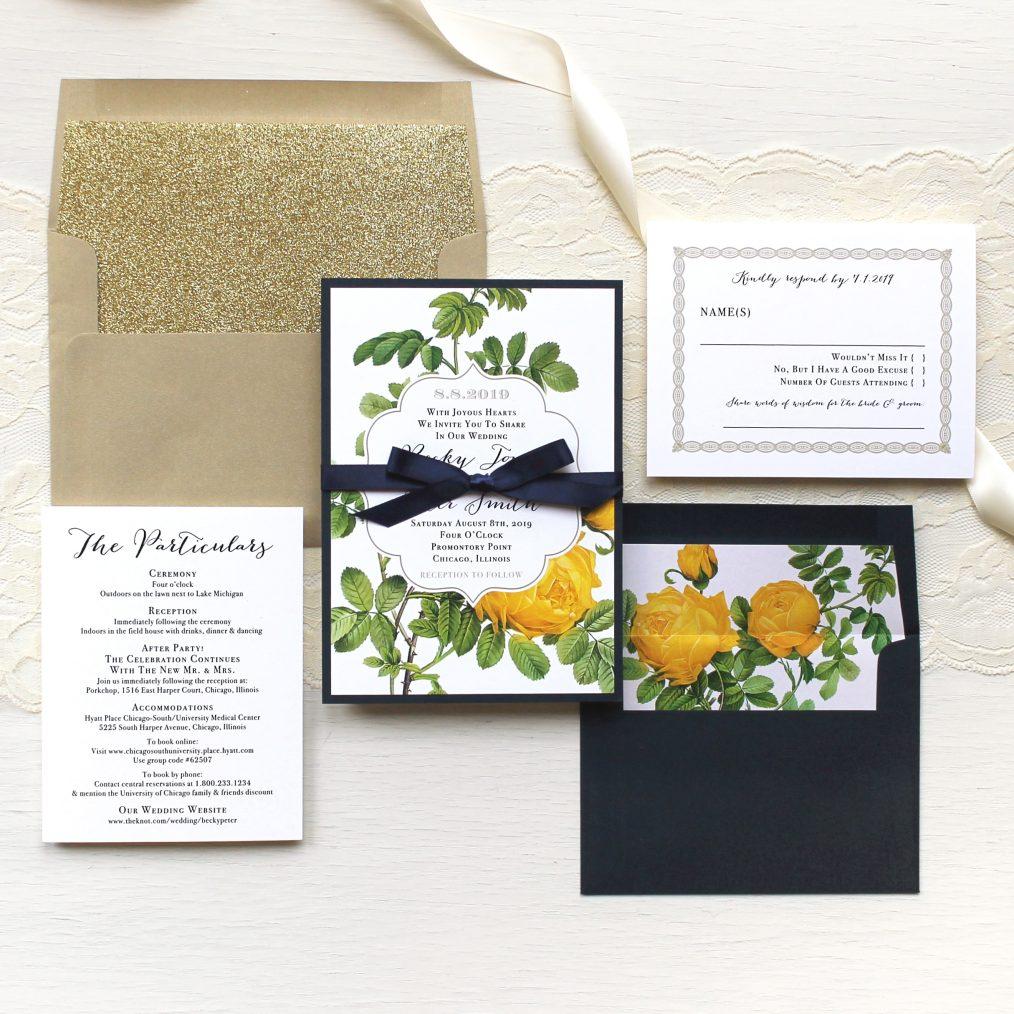 Yellow Garden Rose Wedding Invitations