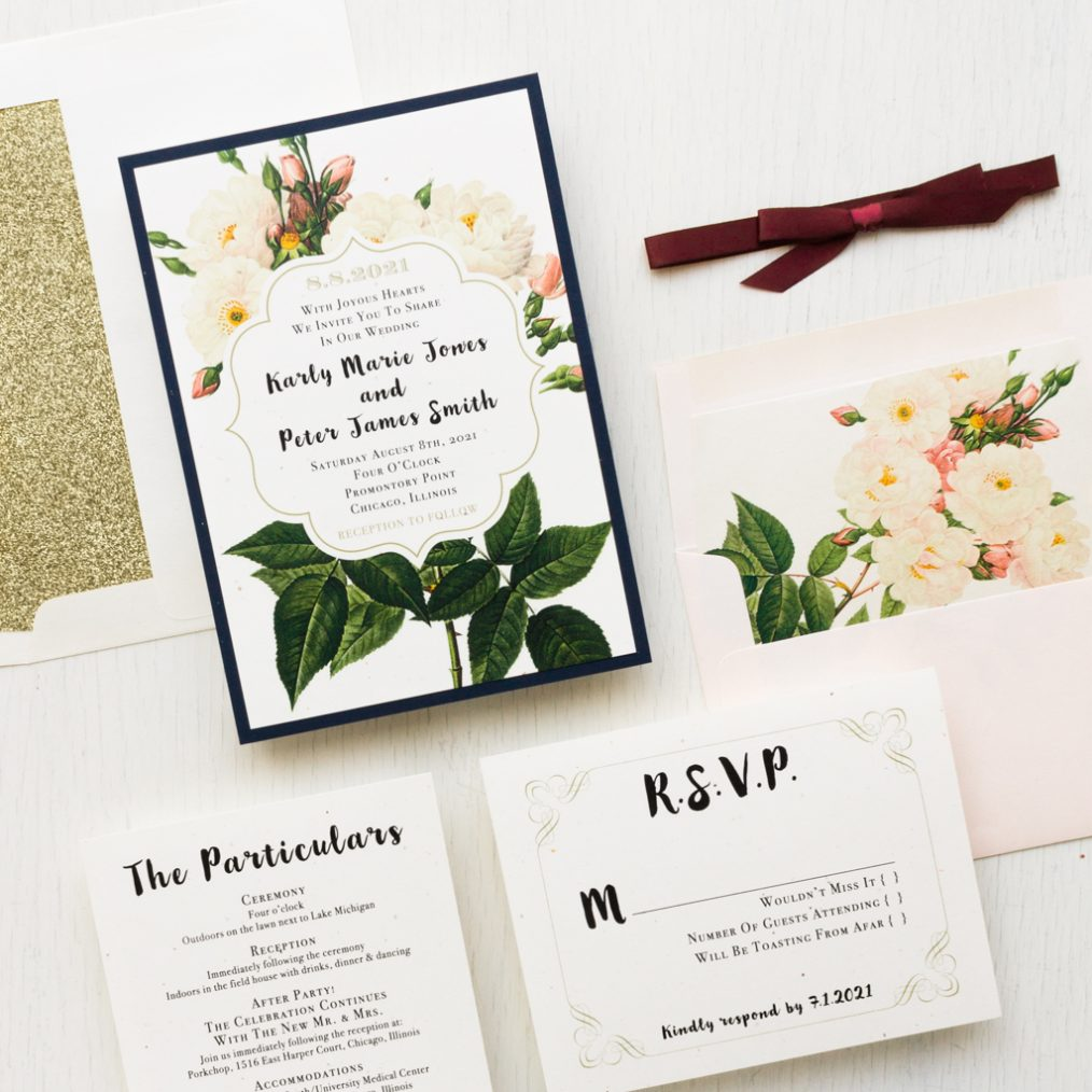 Navy Garden Wedding Invitations