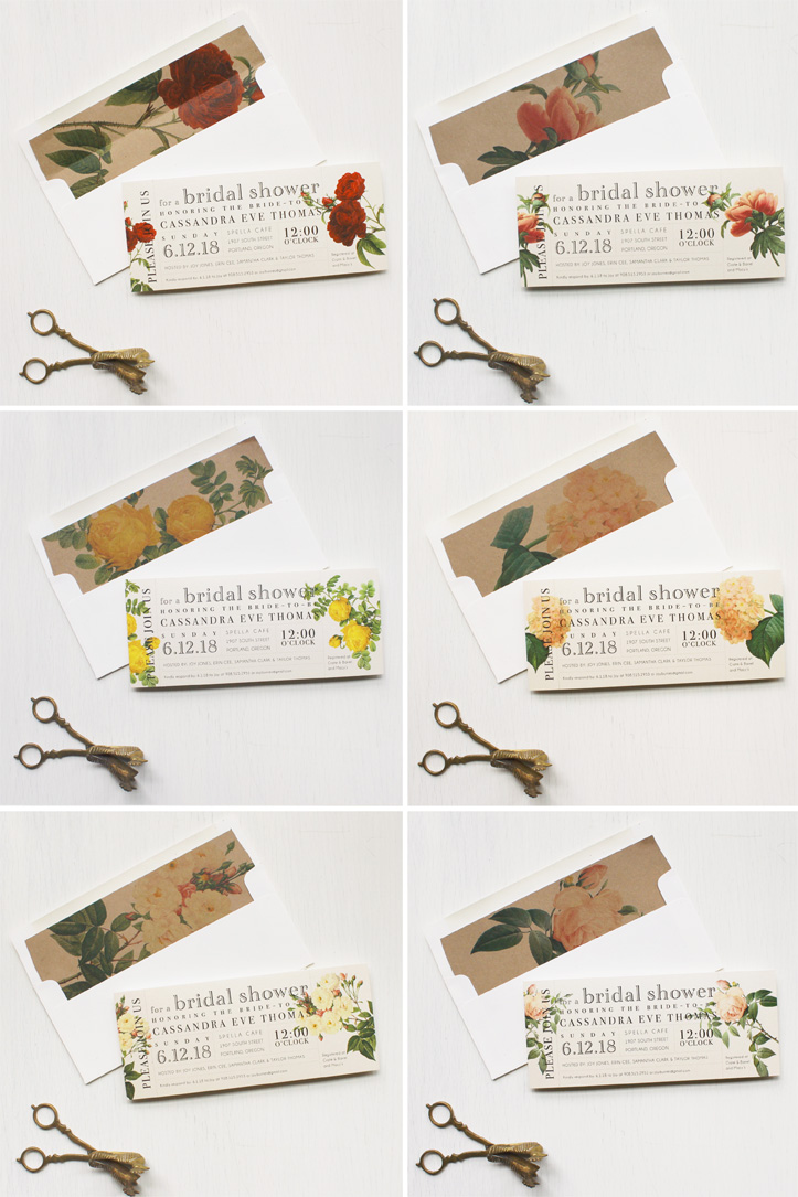 vintage garden bridal shower invites