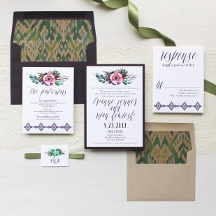 Succulent Script Wedding Invitations