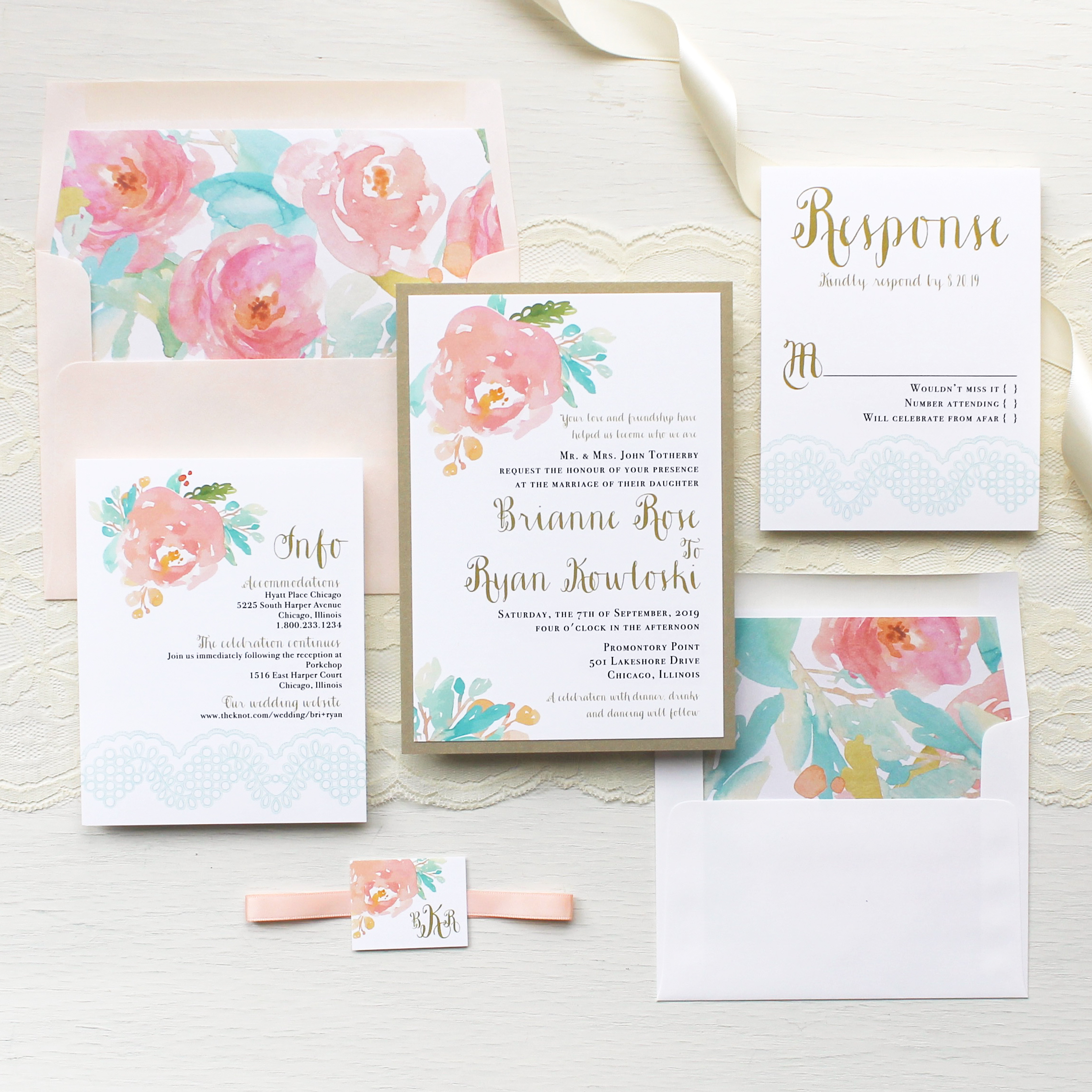 Watercolor Pastel Wedding Invitations Customizable Modern Wedding ...