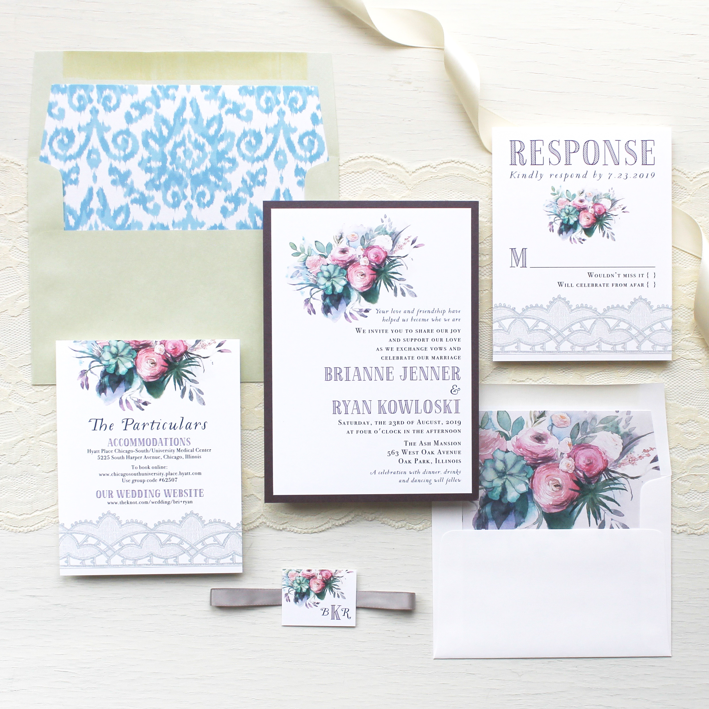 Watercolor Rose Wedding Invitations Customizable Modern Wedding ...