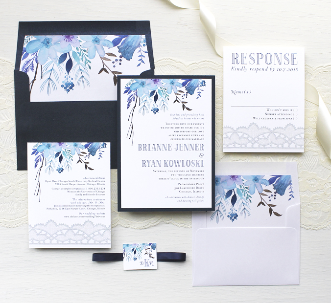 indigo blue wedding invitations customizable modern wedding