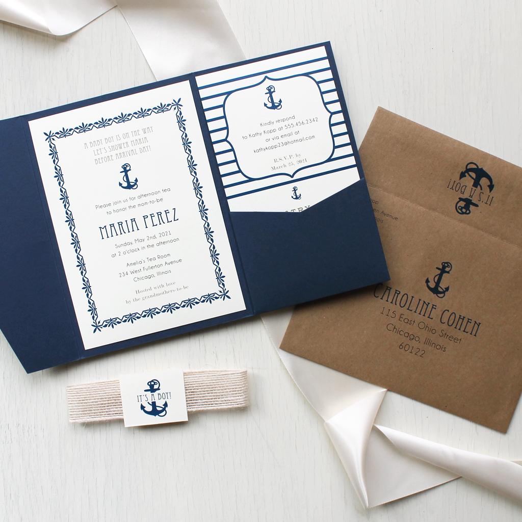 Nautical Boy Baby Shower Invitations