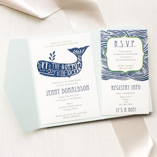Blue Whale Baby Shower Invitations