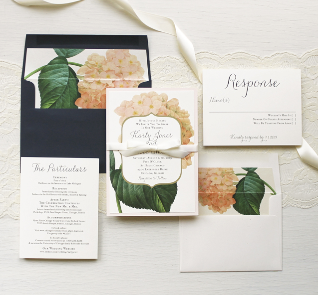blush hydrangea classic navy garden wedding invitations - Blush Wedding Invitations