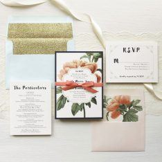Pastel Peony | Floral Boho Glitter Wedding Invitations