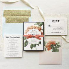 Pastel Peony   Floral Boho Glitter Wedding Invitations