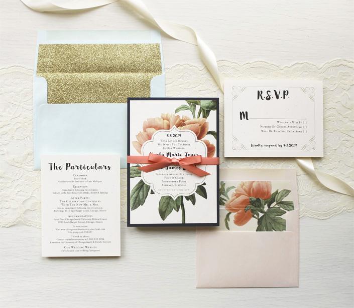 Floral Boho Glitter Wedding Invitations