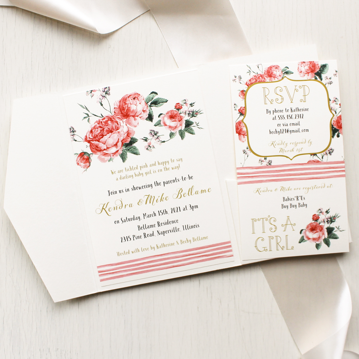 Pink Floral Baby Shower Invitations Beacon Lane