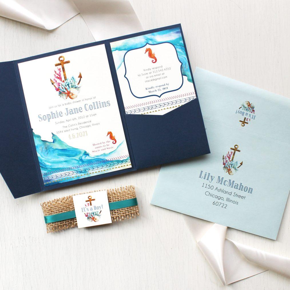 Nautical Sea Baby Shower Invitations
