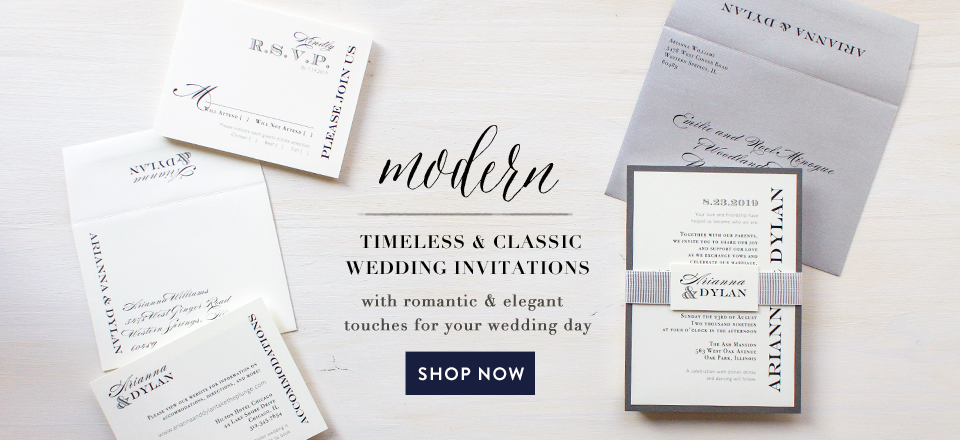 modern timeless & classic wedding invitations with romantic & elegant touches for your wedding day