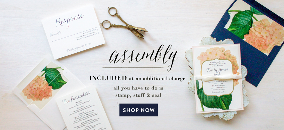 assembly included at no additional charge all you have to do is stamp, stuff & seal