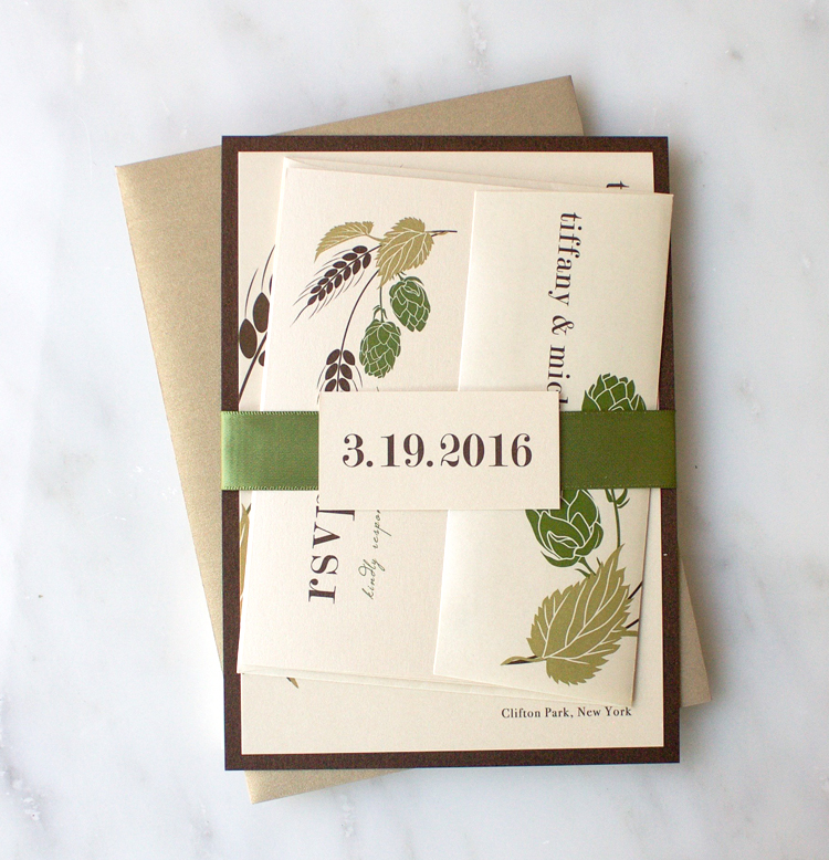 Moss, Gold & Champagne Hops Love Wedding Invitation Color Customizations