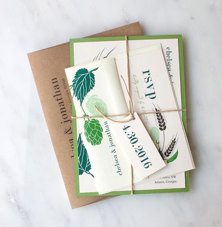 Green, Sage & Emerald Hops Love Wedding Invitation Color Customizations