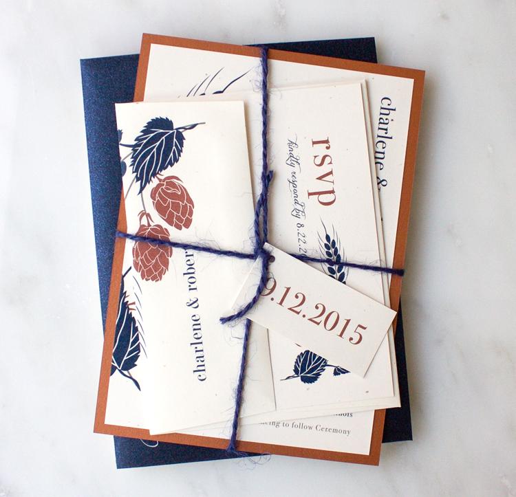 Navy & Copper Hops Love Wedding Invitation Color Customizations
