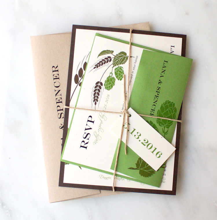 Green, Brown & Taupe Hops Love Wedding Invitation Color Customizations