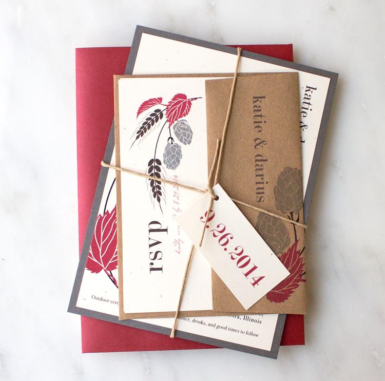 Crimson Red & Gray Hops Love Wedding Invitation Color Customizations