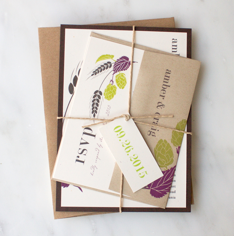 Purple, Green & Kraft Hops Love Wedding Invitation Color Customizations