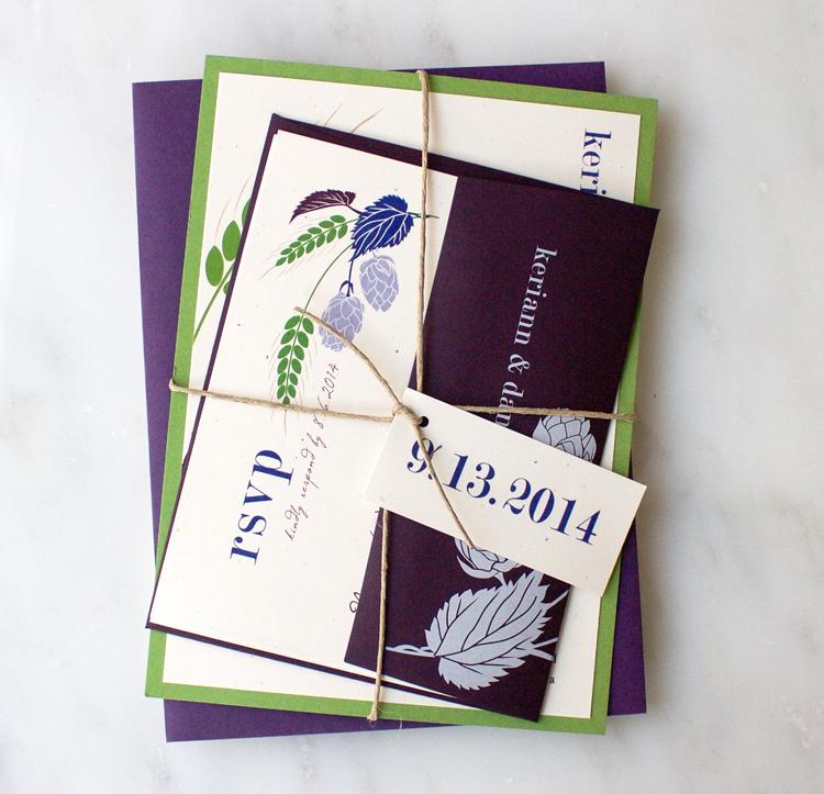 Plum, Purple & Green Hops Love Wedding Invitation Color Customizations