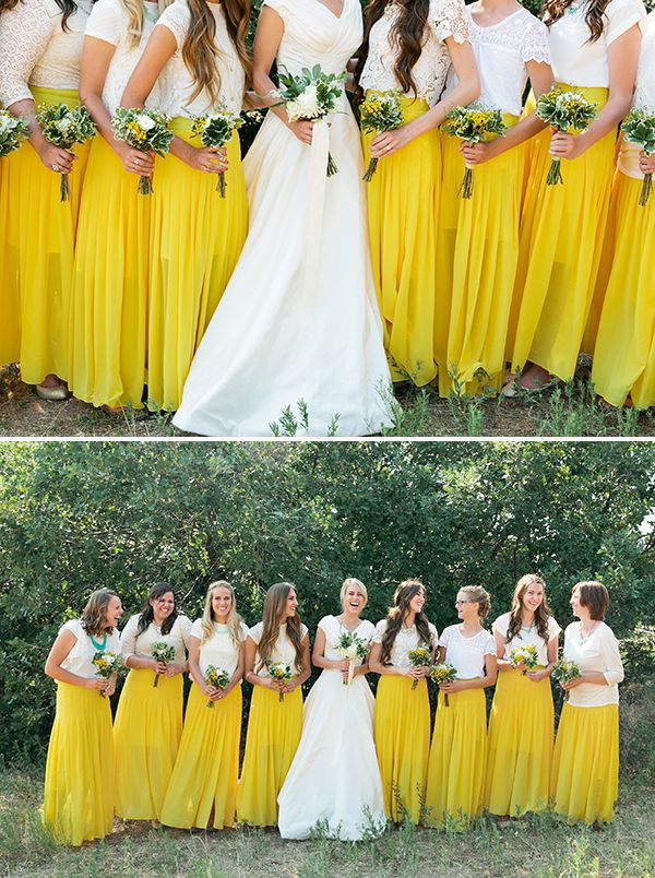 Maxi skirt bridesmaid dresses your girls will love for Yellow maxi dress for wedding