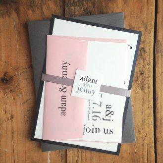 Pink & Gray Urban Elegance Wedding Invitations