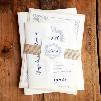 Navy and Gold Classic Love Wedding Invites by Beacon Lane