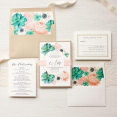 Blush Succulent Wedding Invitations | Beacon Lane