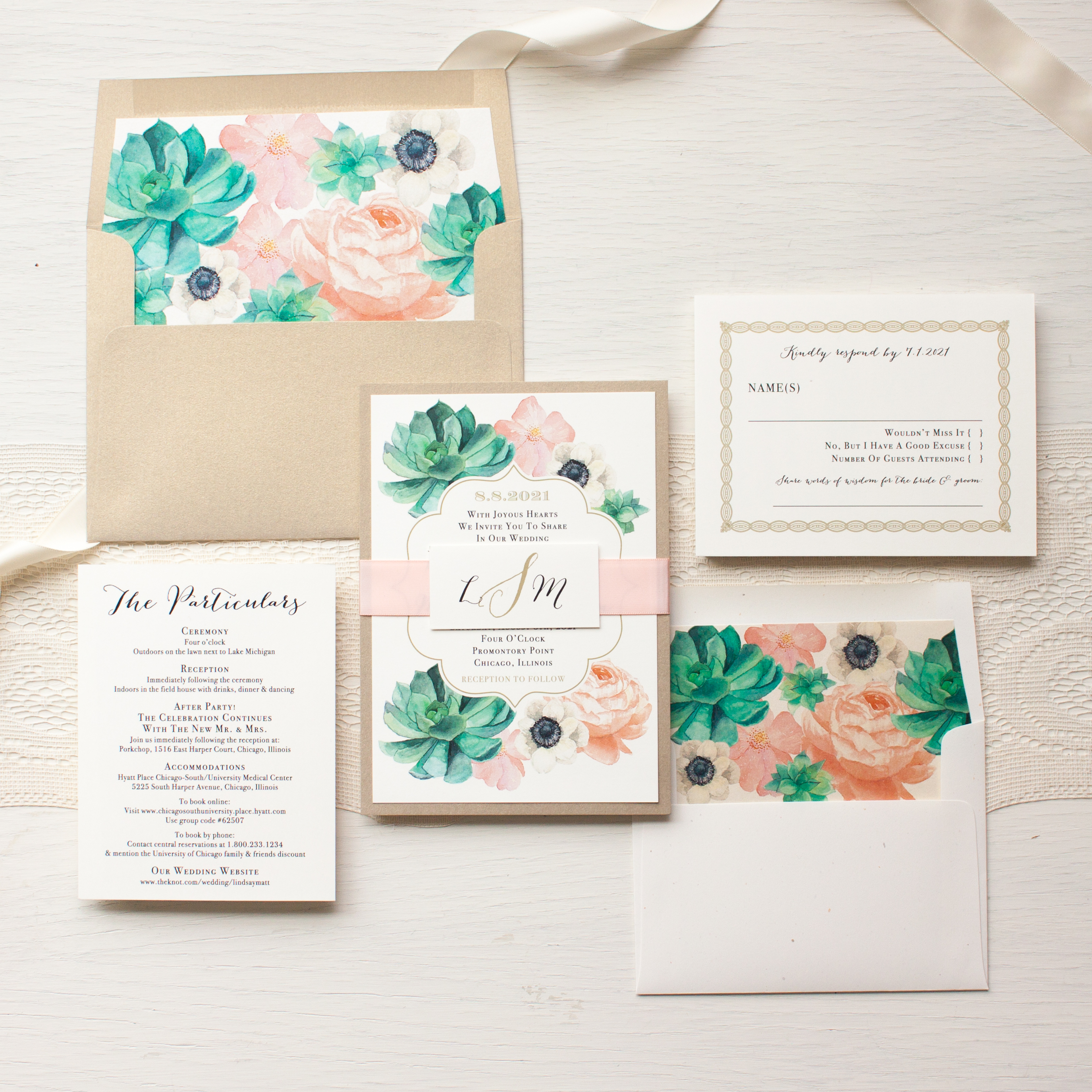 Blush Succulent Anemone Wedding Invitations | Beacon Lane