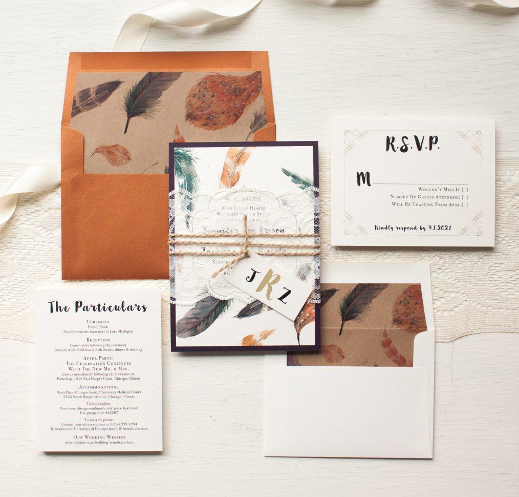 Feather Boho Wedding Invitations