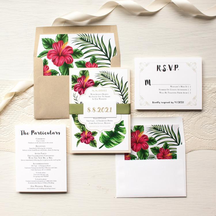 Tropical floral wedding invitations beacon lane