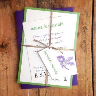 Purple & Green Rustic Magnolia Custom Wedding Invitations by Beacon Lane