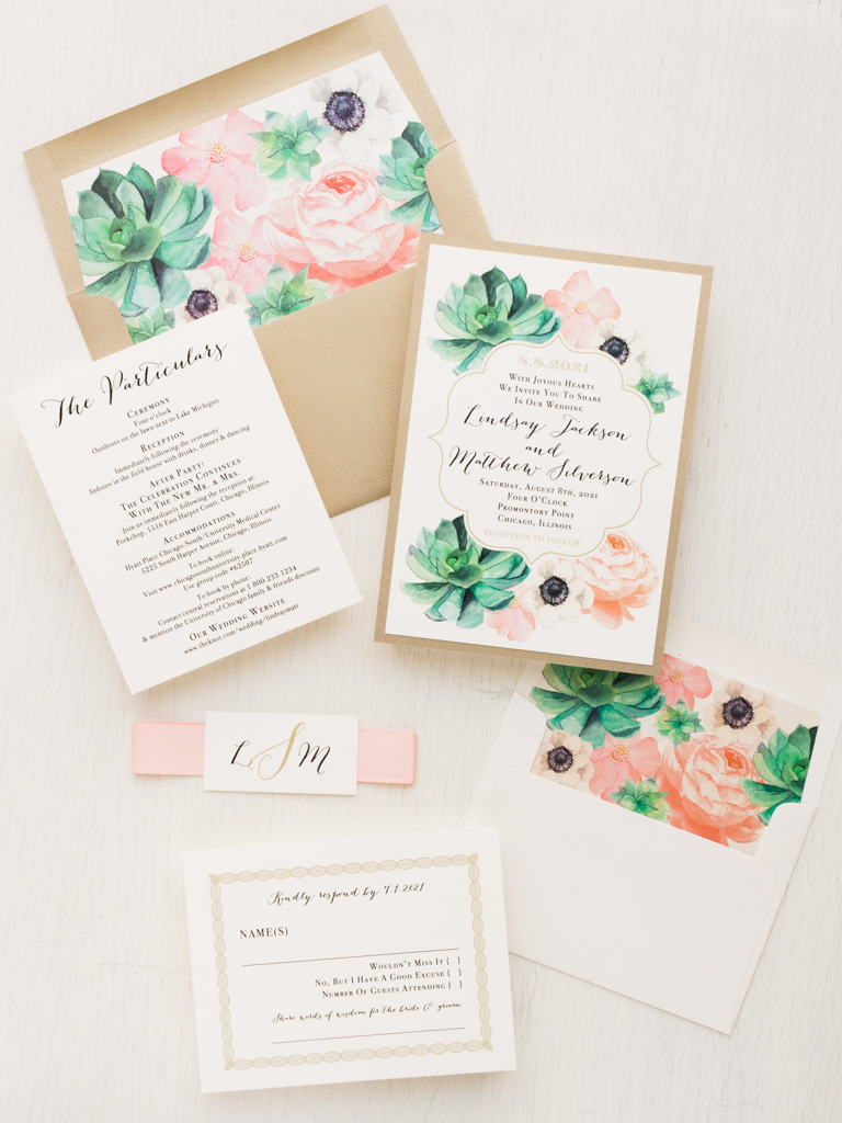 Blush Succulent Wedding Invitations Beacon Lane