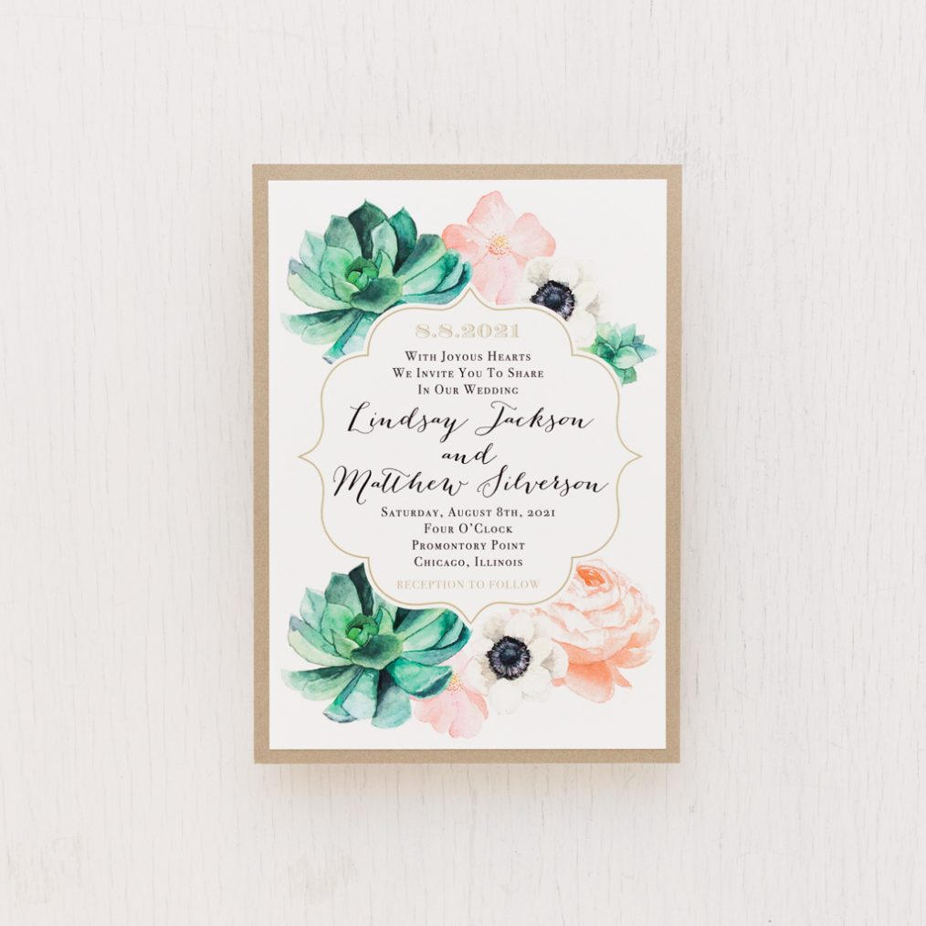 Blush Succulent Wedding Invitations