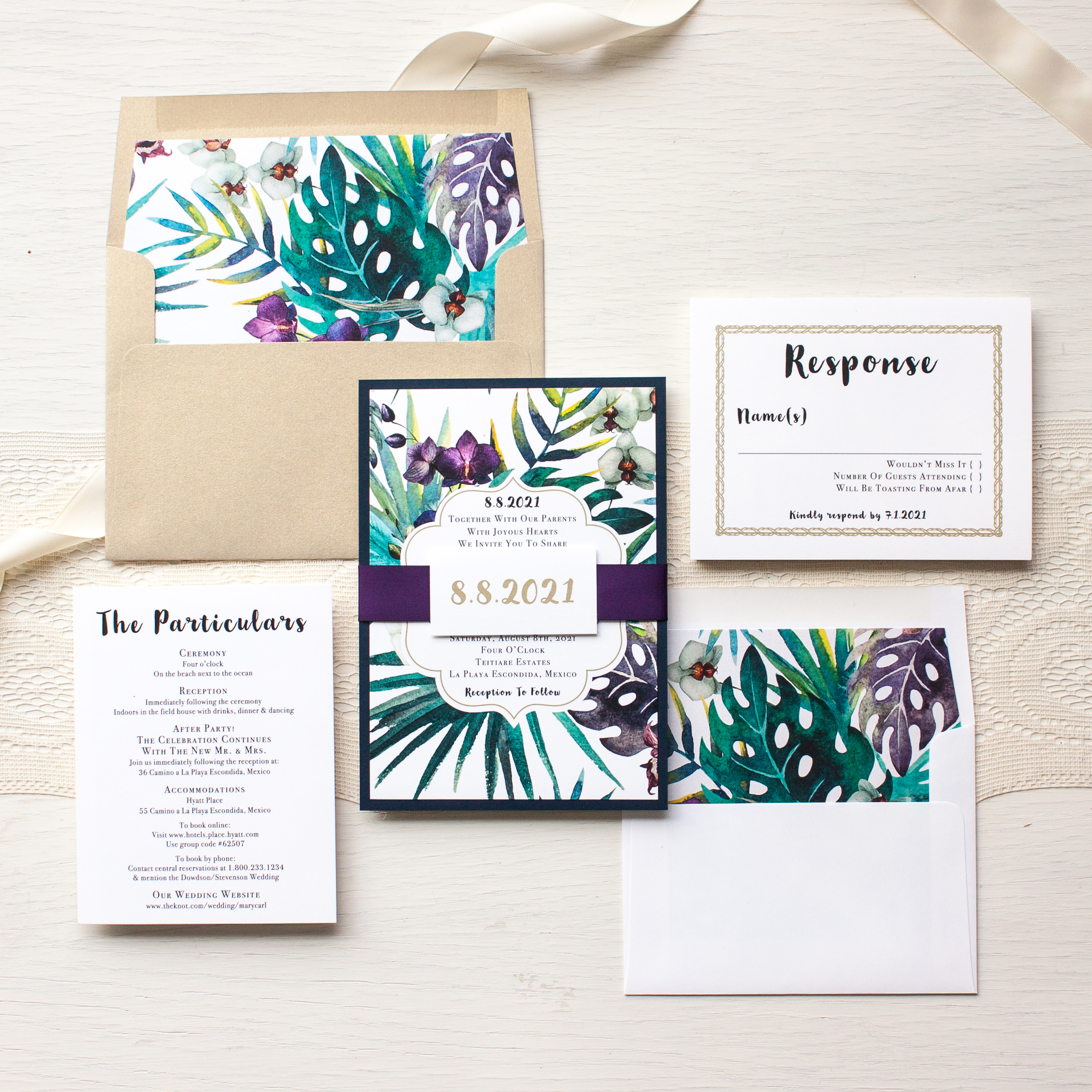 Jewel Tone Tropics Destination Wedding Invitations | Beacon Lane