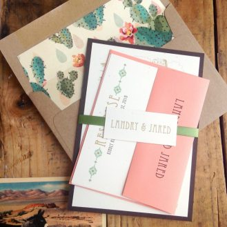 Custom Coral & Moss Wedding Invitations with Envelope Liner by Beacon Lane