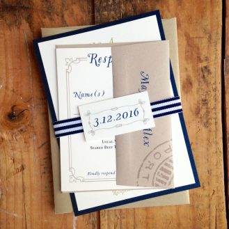 Nautical Bliss Navy & Taupe Wedding Invitations by Beacon Lane