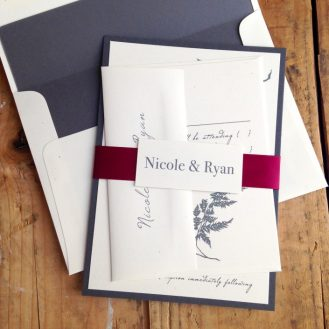 Gray and Wine Wedding Invitations by Beacon Lane