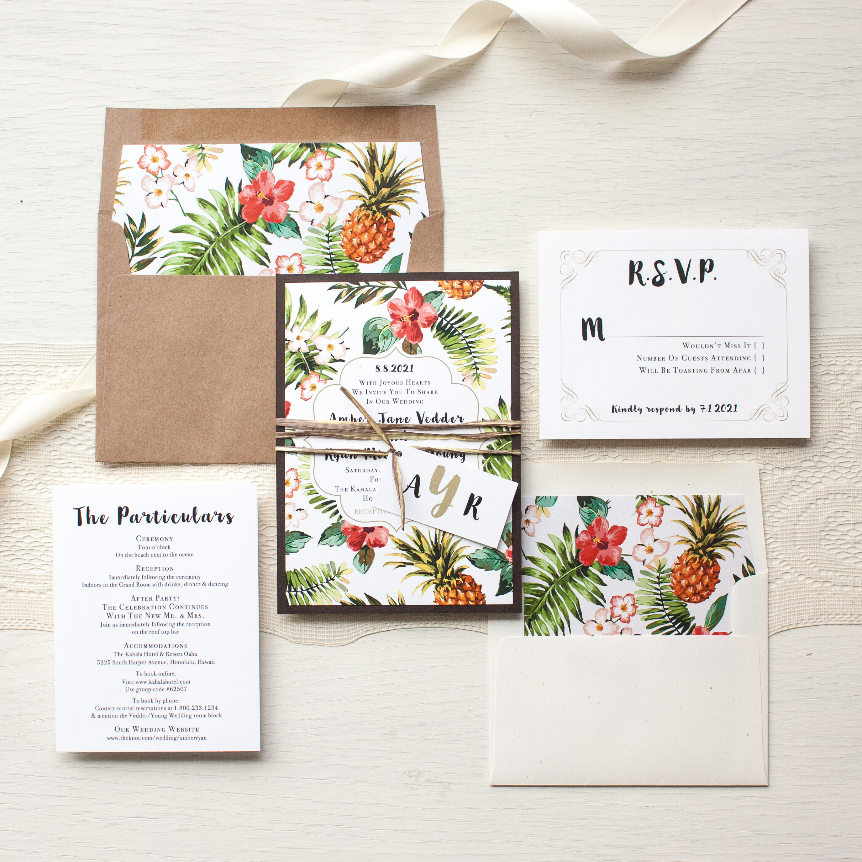 Pineapple Paradise Destination Wedding Invitations